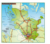 Schleswig-Holstein Umgebungskarte bunt — Stock Vector