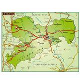 Sachsen Umgebungskarte bunt — Stock Vector