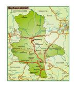 Sachsen-Anhalt Umgebungskarte bunt — Stock Vector