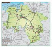 Umgebungskarte gruen нижней саксонии — Cтоковый вектор
