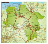 Niedersachsen Umgebungskarte bunt — Stock Vector