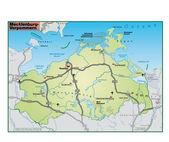 Mecklenburg-Vorpommern Umgebungskarte gruen — Stock Vector