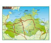 Mecklenburg-Vorpommern Umgebungskarte bunt — Stock Vector