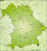 Bundesland Bayern Umgebungskarte Uebersicht — Stock Vector