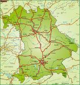 Bundesland Bayern Umgebungskarte bunt — Stock Vector