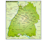 Baden-Württemberg Umgebungskarte Uebersicht — Vettoriale Stock