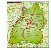 Baden-Württemberg Umgebungskarte bunt — Stock Vector