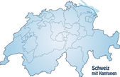 Schweiz_Kantone_blau — Stock Vector