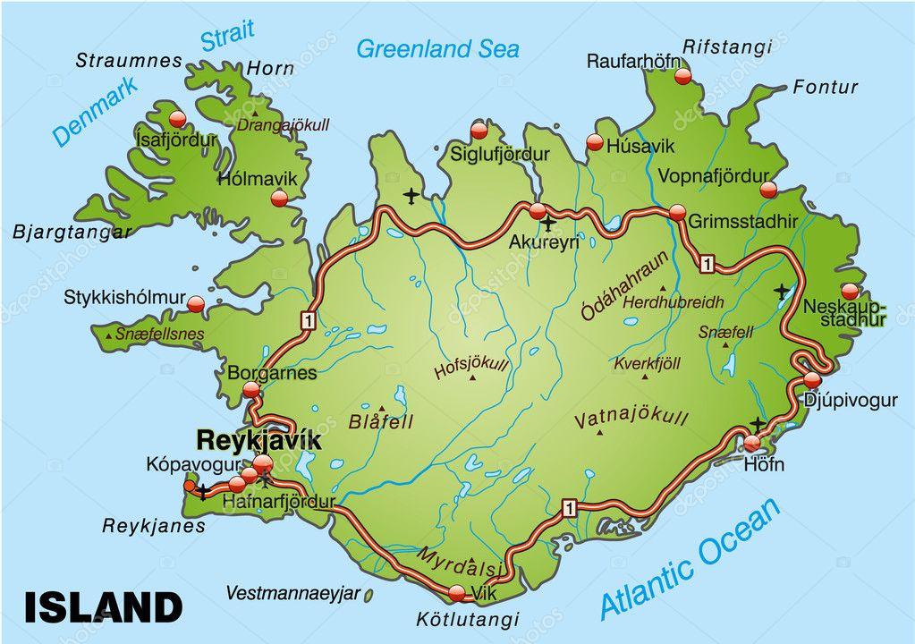 道路的冰岛地图 — 图库矢量图片#8476063