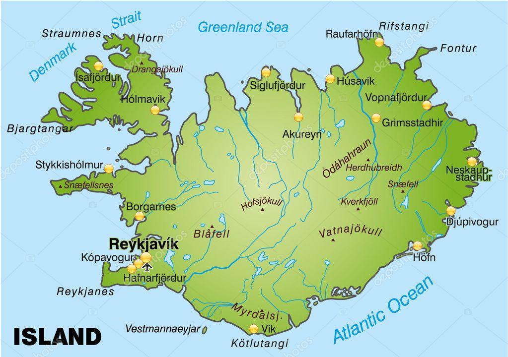 冰岛的地图— vector by