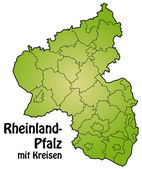 Mapa de Renania-Palatinado — Vector de stock