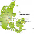 Stock Vector: Map of Denmark