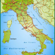 Map of Italy with highways and main cities — Stock Vector #9556651