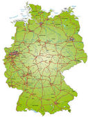 Map of Germany with highways and main cities — Stock Vector