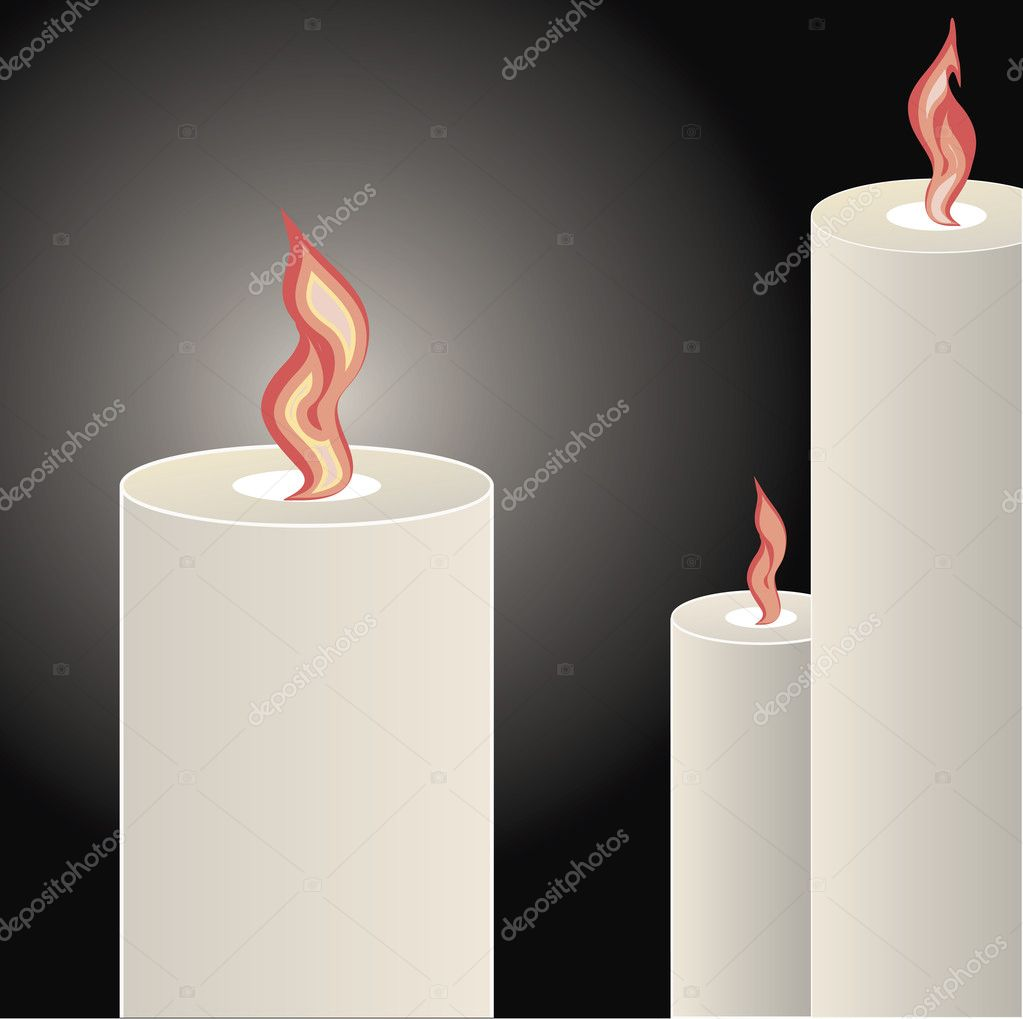 Candles burning bright over a black background  Vektorgrafik #10395404