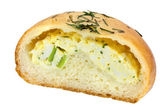 Bun filled with eggs — Stock Photo