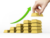 Bar chart made of golden bars — Stock Photo