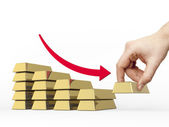Staafdiagram gemaakt van gouden balken verkleinen — Stockfoto