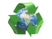 Reciclar insignia con globo de tierra interior aislado sobre un fondo blanco — Foto de Stock