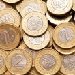 Polish 2 pln coins background. — Stock Photo