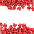 Valentines background with red hearts isolated on a white background — Stock Photo