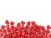 Valentines background with red hearts isolated on a white background — Стоковое фото