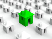 εικονογράφηση ακίνητων περιουσιών με πράσινο σπίτι στη μέση — Φωτογραφία Αρχείου