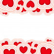 Valentines background with red hearts isolated on a white background — Foto Stock