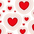 Valentines background with red hearts isolated on a white background — 图库照片