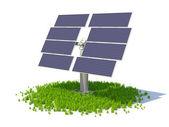 Daire oluşturan bir çim üzerinde duran güneş paneli — Stok fotoğraf
