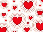 Alla hjärtans bakgrunden med röda hjärtan isolerad på en vit bakgrund — Stockfoto