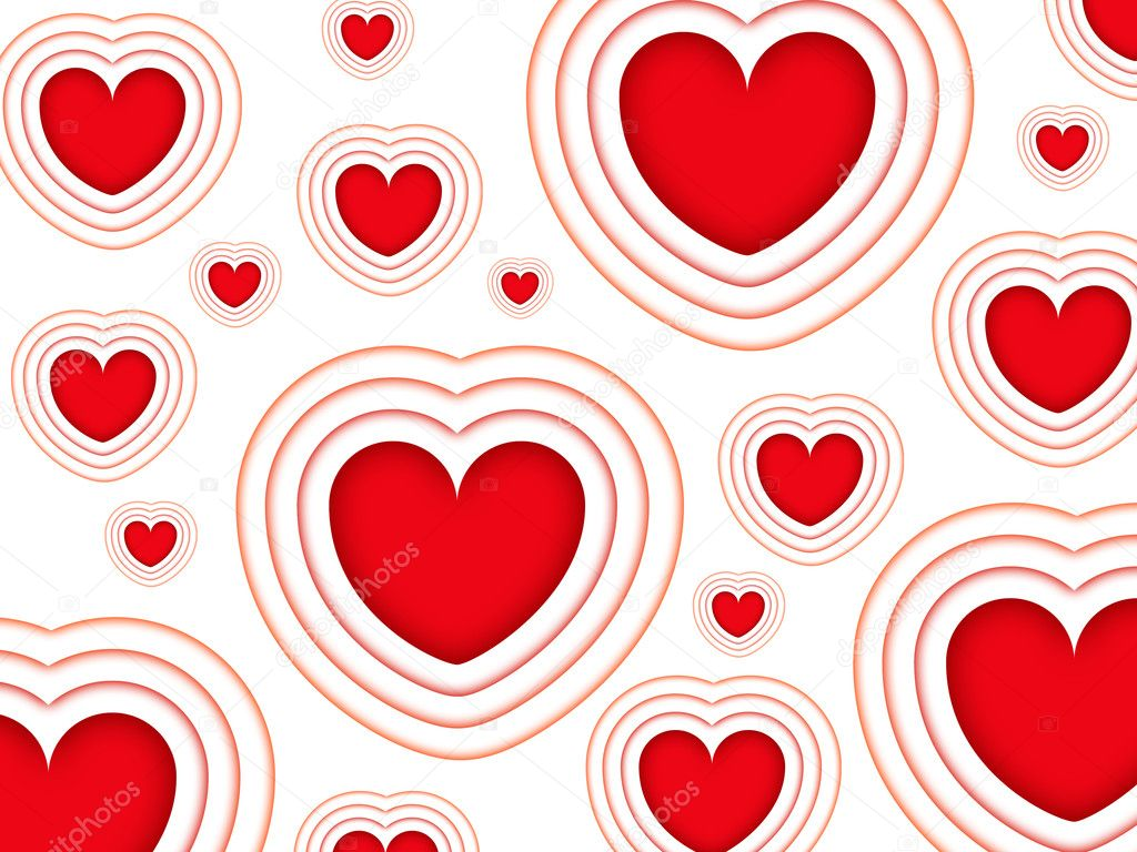 Valentines background with red hearts isolated on a white background — Stock Photo #8357745
