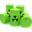 Stock Photo: Radioactive barrels on white background