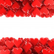 Stock Photo: Valentines background with red hearts isolated on white background