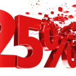 Explosive 25 percent off on white background — Stock Photo