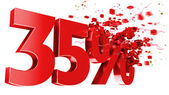Explosive 35 percent off on white background — Stock Photo