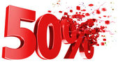 Explosive 50 percent off on white background — Stock Photo
