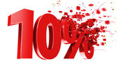 Explosive 10 percent off on white background — Stock Photo