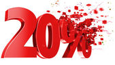 Explosive 20 percent off on white background — Stock Photo