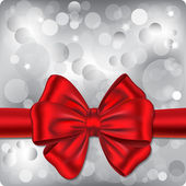 Bokeh background with red ribbon — Stock Vector