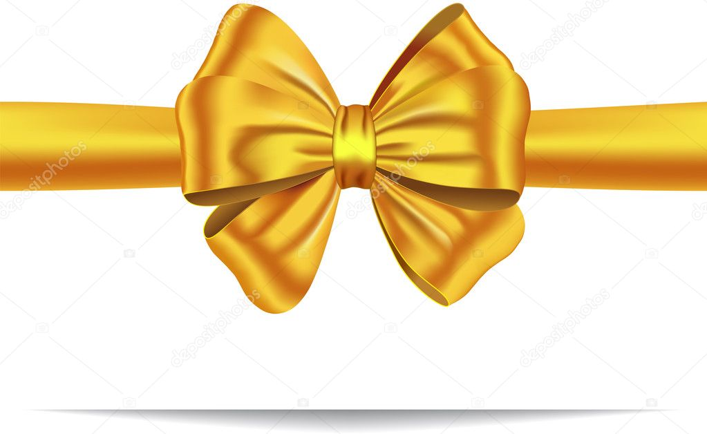 Golden ribbon with luxurious bow. Gift card. Vector illustration — Stock Vector #8185827