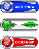 Metallic order now button/icon set — Stock Vector