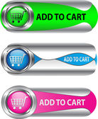 Metallic Add To Cart button/icon set — Stock Vector