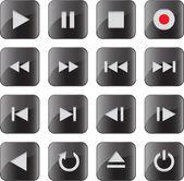 Multimedia control icon/button set — Vecteur