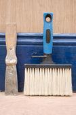 Paint brush and filler knife. — Stock Photo