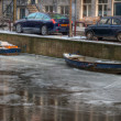 Frozen canals in Amsterdam — Stock Photo