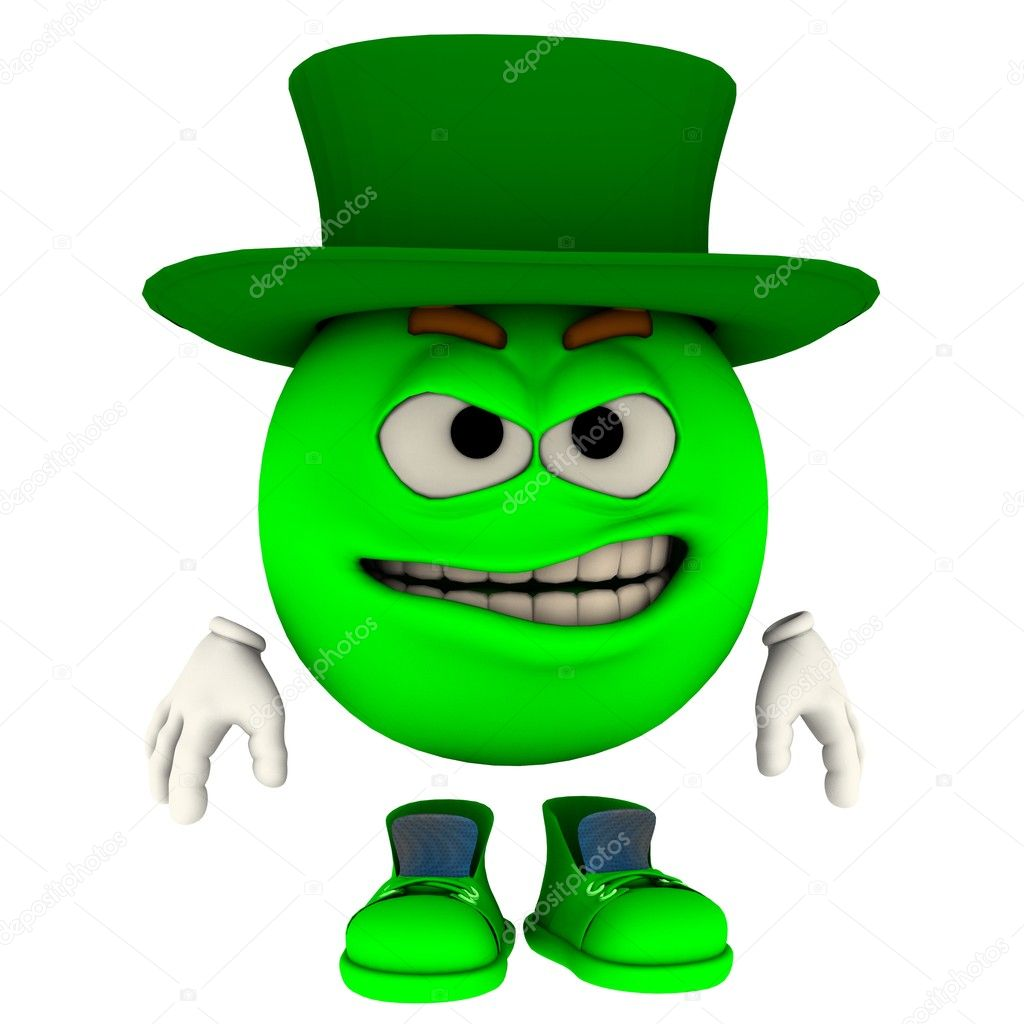 An emoticon model in his unique pose for saint patrick's day — Zdjęcie stockowe #9232474