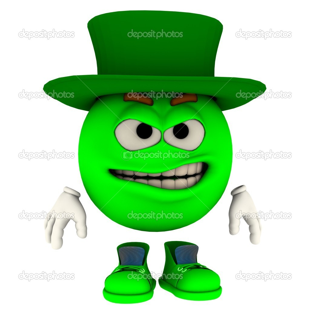 An emoticon model in his unique pose for saint patrick's day — Lizenzfreies Foto #9232474