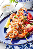 Prawn skewers — Stock Photo