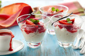 Rice pudding with strawberry — Stock Photo